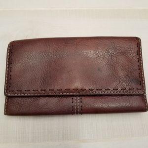 {OS} Vintage Fossil Dark Brown Leather Wallet